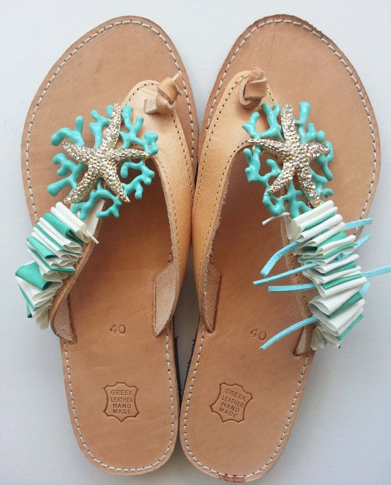Handmade Leather Sandals with Starfish by SpiceUCreations on Etsy