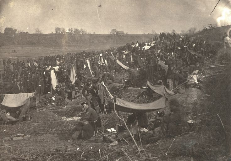 Recently uncovered photograph of Union soldiers encamped on a bluff near Franklin's Crossing south of Fredericksburg shortly before the Second Battle of Fredericksburg, 1863.