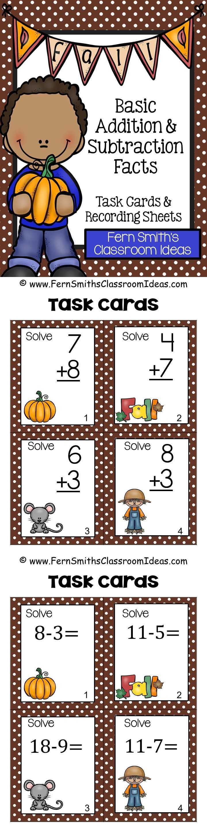 FOUR #FREE Subtraction Task Cards and FOUR #FREE Addition Task Cards to try before you buy in the preview download. Fall Basic Addition and Subtraction Facts Task Cards, Recording Sheets and Answer Keys perfect for Autumn. →72 Task Cards in color. →72 Task Cards in black and white. →6 Recording Printable Worksheets with 6 Answer Key Sheets #TPT $Paid