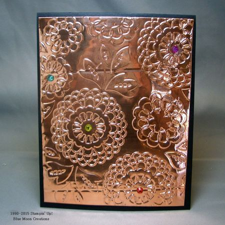 Embossed Copper Flashing using the Big Shot and Lovely Lace Embossing Folder.