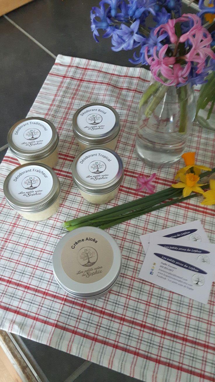 4 sortes de déodorant naturel sont offerts pour vous traditionnel(lavande), fraîcheur(menthe), tropical et boisé  Www.lespetitssoinsdesophie.ca