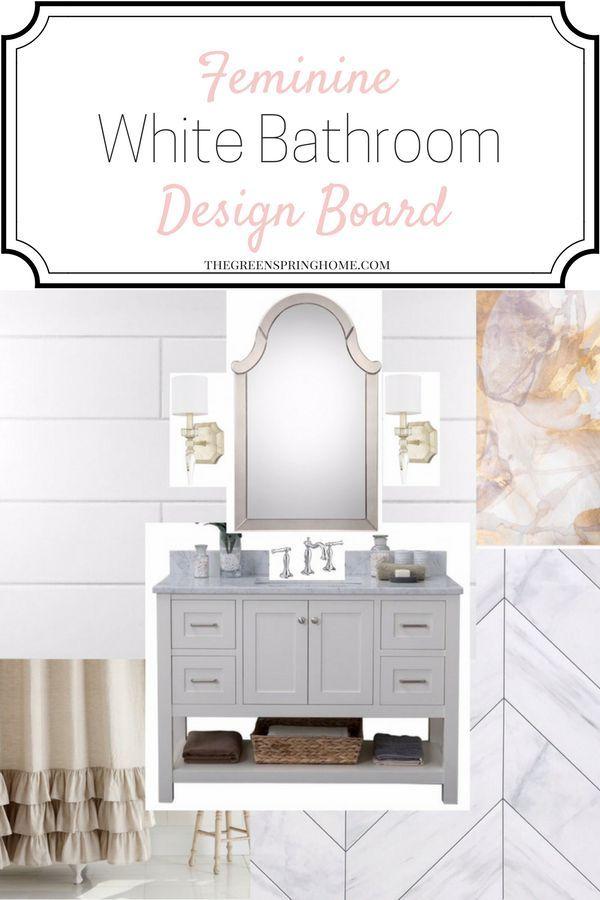 All White Bathroom Decor Inspiration   Feminine White Bathroom   All White Bathroom Design   Feminine Bathroom Ideas Shabby Chic #interiordesignideas #interiordecorating #bathroomdesign #bathroomideas