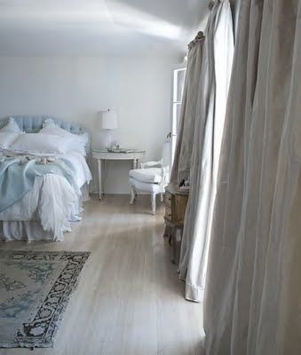 Smooth Floor Wood Area Rug At Foot Of Bed Lush Curtains Half Moon Table As Side Find This Pin And More On Rachel Ashwell Home