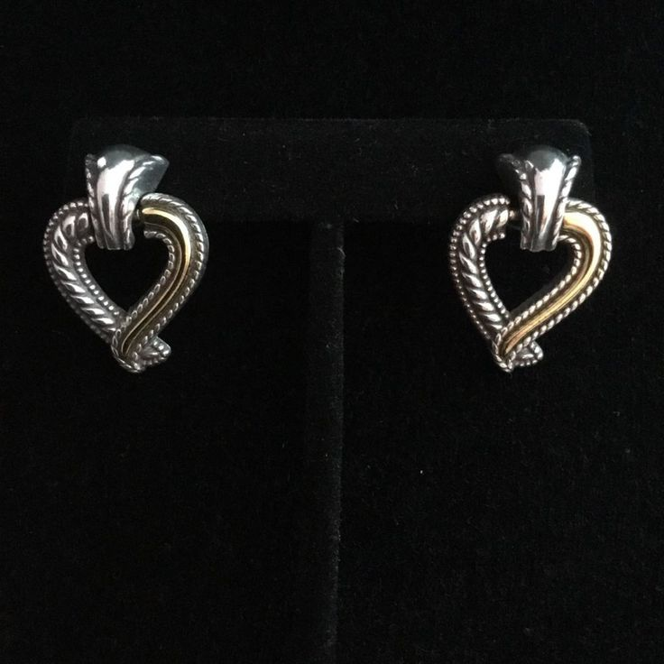 BRIGHTON Callie Heart Two Tone Twist Dangle Post Earrings Vintage Classy Must Have Crystal Silver Christmas or Holiday. Vintage Beauty. Jewelry. Stunning. Accessories. Brighton.  Collectible.