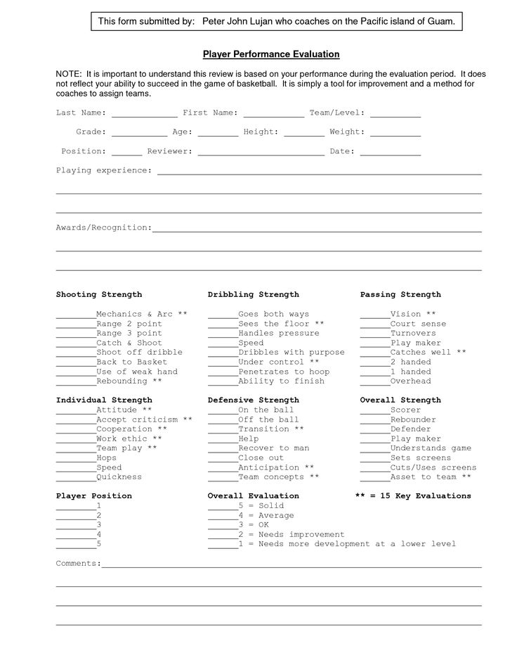 Image result for basketball player evaluation template - basketball evaluation form