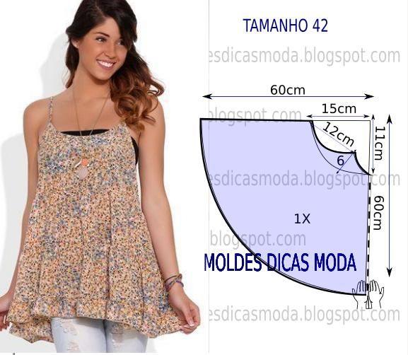 Analise de forma detalhada o desenho do molde de blusa godé. Esta blusa é simples e bela, veste de forma descontraída e elegante. Tamanho 42.