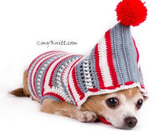 Bohemian Dog Hoodie Pajamas Teacup Chihuahua Clothes by myknitt