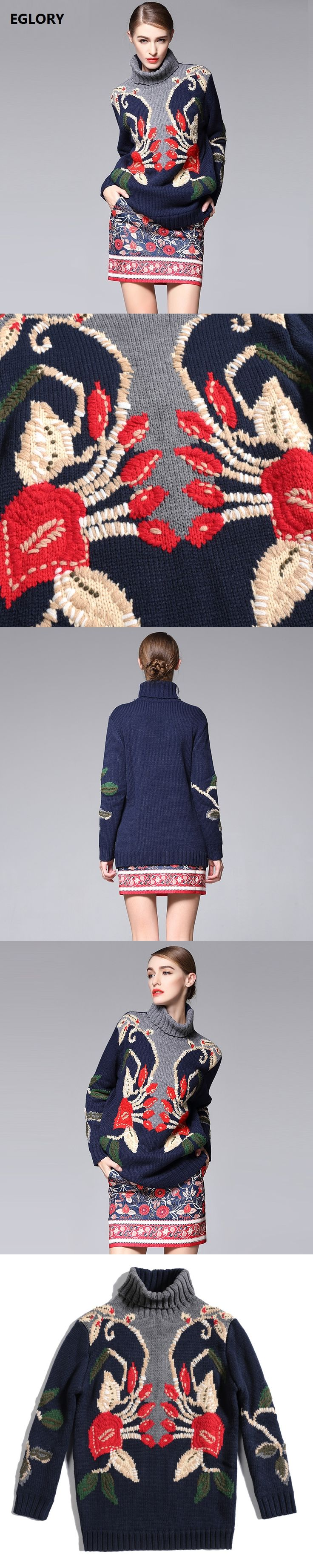 High Quality Women Clothing Winter Sets Ladies Turtleneck Hand Made Embroidery Vintage Sweaters+Jacquard Print Short Skirt Suit