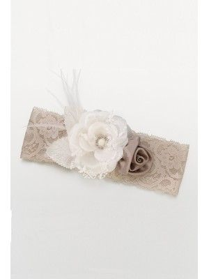 Vintage Taupe Lace Wide Garter with Flowers