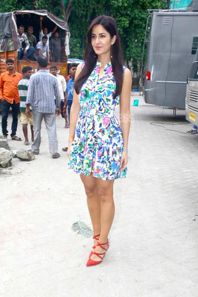 Katrina Kaif wearing Saloni dress and Zara heels