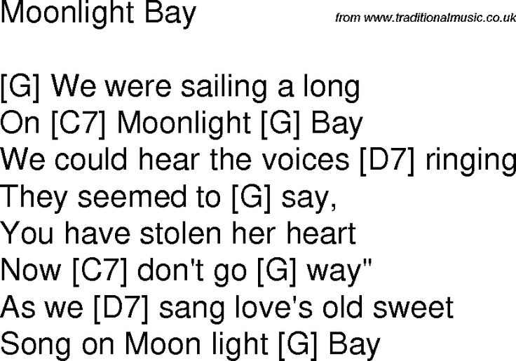 Old time song lyrics with chords for Moonlight Bay G