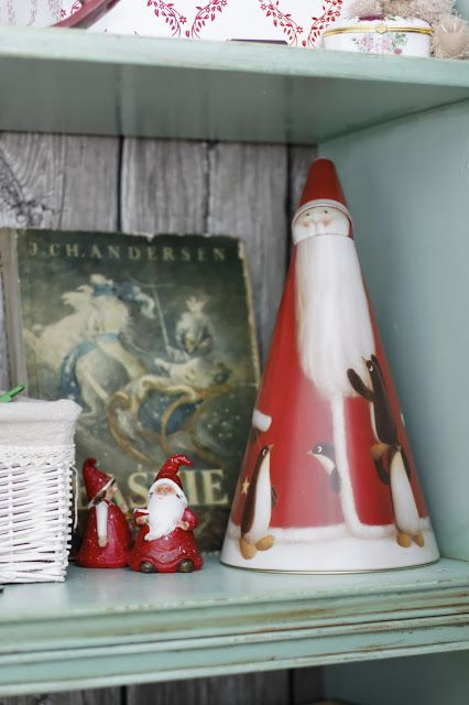 Minty shabby chic shelves in kids room and christmas decorations