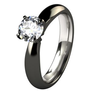 Helena Black Diamond Treated Titanium Engagement Ring