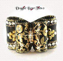 Dog Bow-Full Size, Black Gold, Floral Crystal