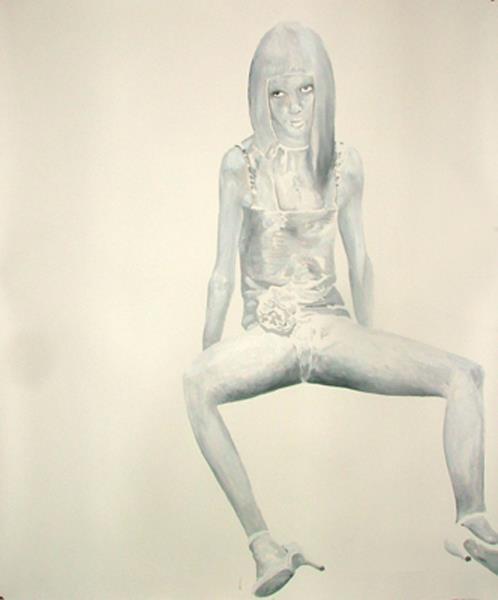 "Fabio Moro , ""doll"" 2006, olio su carta ,cm. 120 x 150"