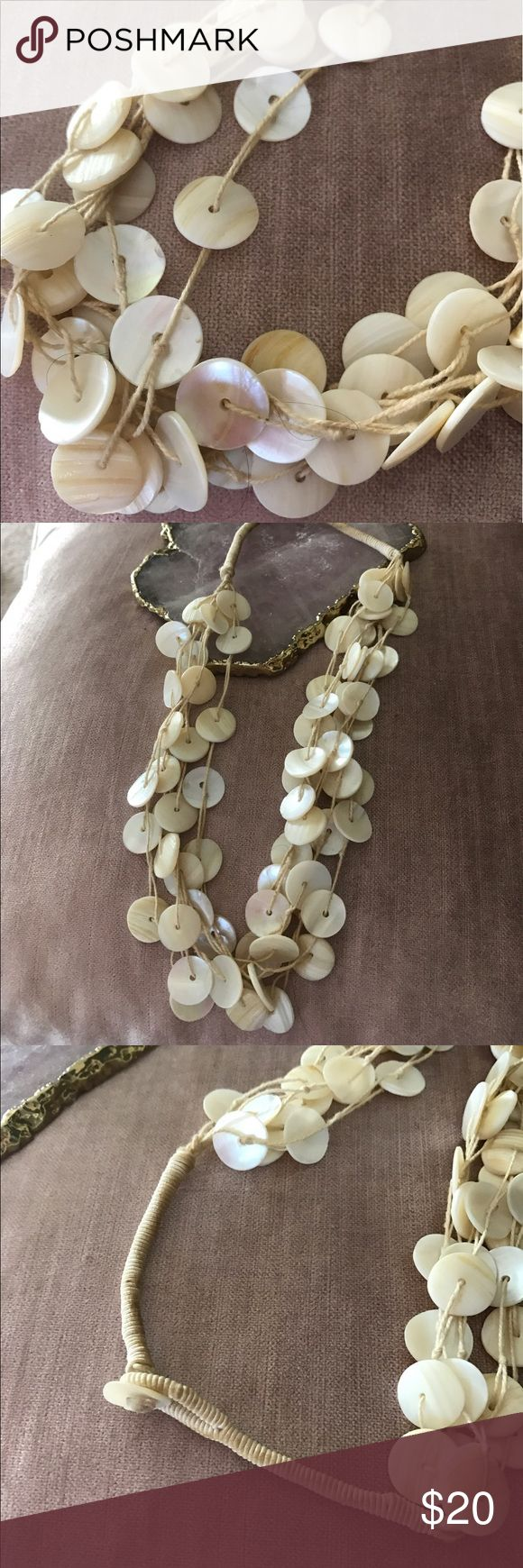 🍧just In American Eagle Outfitters necklace Adorable AE abalone shell 3-strand necklace, no broken pieces, cream cording see photo for darkening of cream price discounted , this is very well made very pretty necklace jewel length casual Boho or tropical dates a great statement piece American Eagle Outfitters Jewelry Necklaces