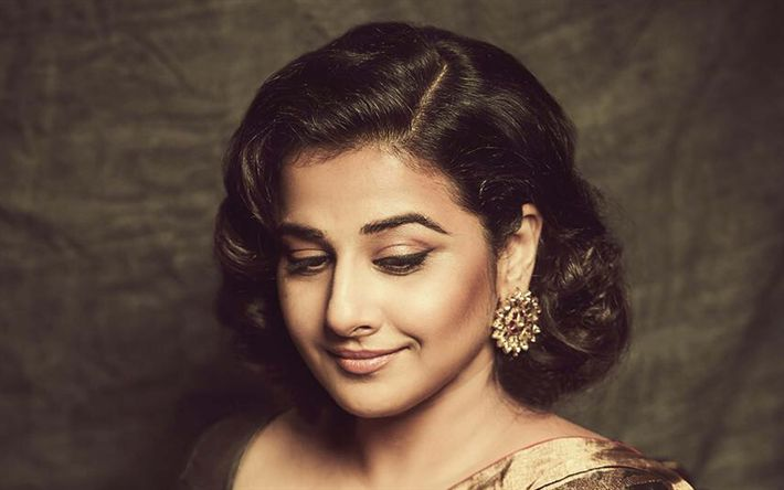 Download wallpapers 4k, Vidya Balan, 2017, Bollywood, beauty, portrait, indian actress, brunette