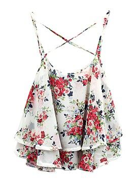 White Layer Floral Print Cross Back Cami Top