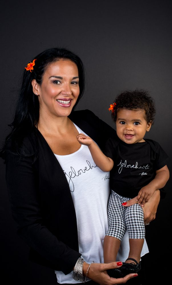 The white cami and the soon-to-be-available baby-onesie. Photo: Naskademini Make-up: Mindy Shear