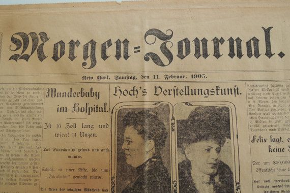 German Newspaper Morgen Journal New York by BlueBarnCollectibles