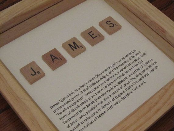 personalised Scrabble wall art framed  baby gift by TLRDCrafts