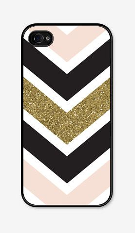 I think this is a great design for an iPhone case. I love the contrast of the black and beige. The chevron lines look very clean. I also love the artist's addition of texture with the glitter stripe that catches your eye.