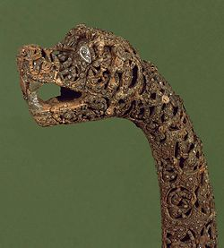 Dragon head of the ship from the Oseberg Ship on display in Norway