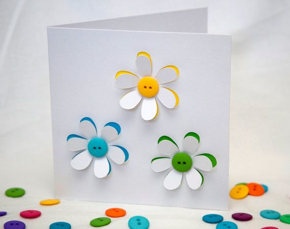 Button Flowers Card  Greeting Card  Paper Cut by Nikelcards