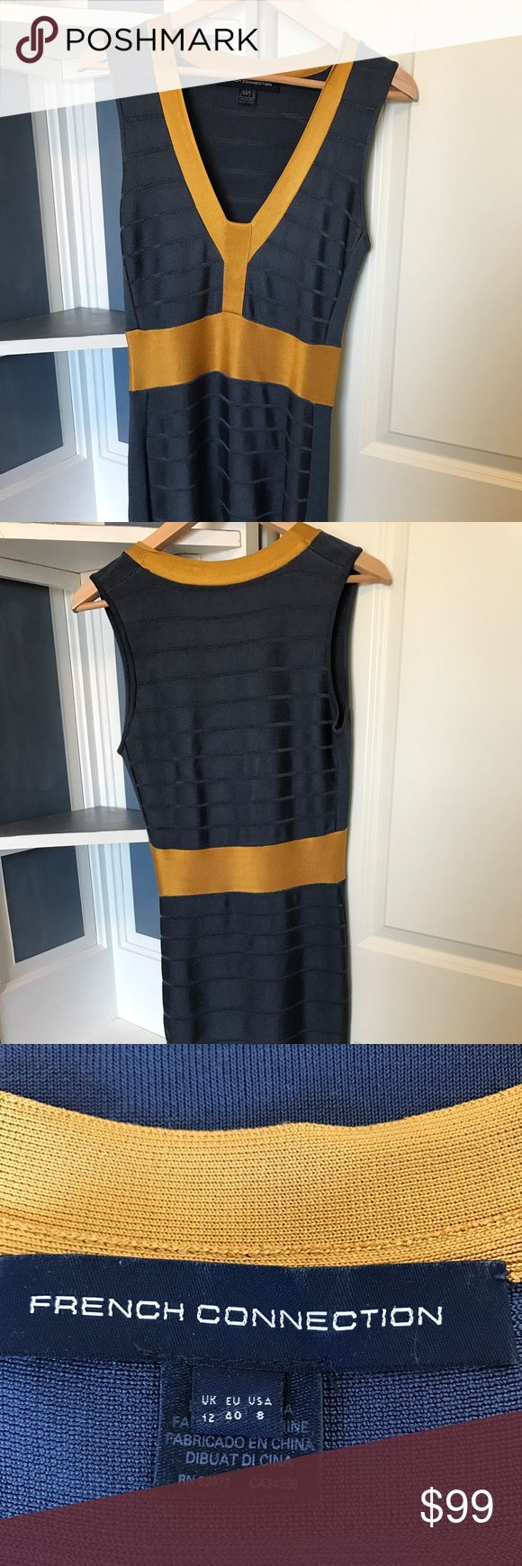 One Day Sale! EUC French Connection Bandage dress Gorgeous French Connection, blue and gold bandage dress. French Connection Dresses