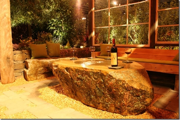 An outdoor room perfect for a summer evening escape.: Coffee Tables, Water Fountain, Design Ideas, Fountain Coffee, Rocks Tables, Fountain Tables, Outdoor Fountain, Memorial Tables, Back Yard