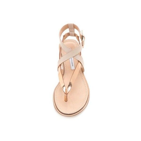Rays Eyebrows Sandal via Polyvore featuring shoes, sandals, flats sandals, neon flats, patent leather sandals, orange flats e striped flats