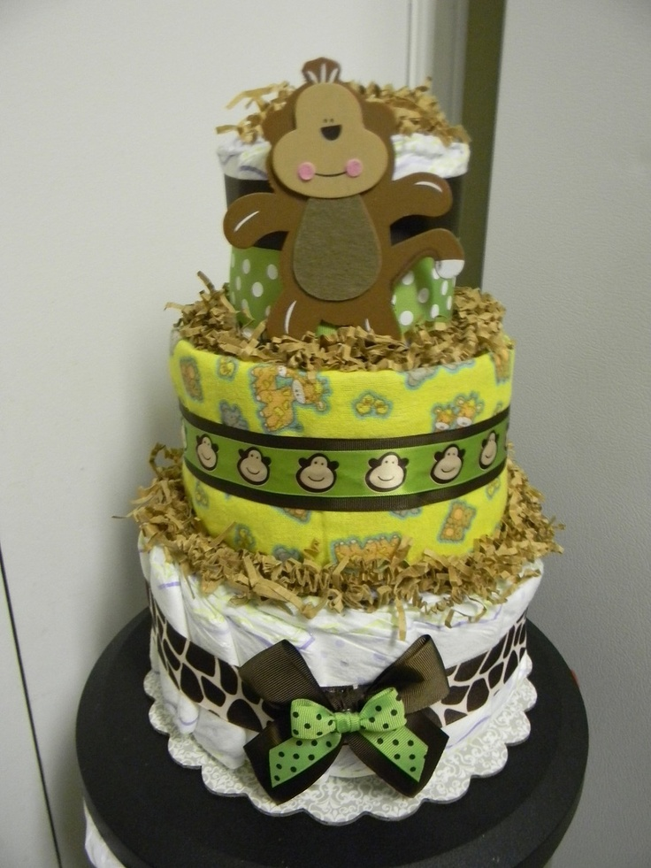 jungle theme monkey giraffe 3 tier diaper cake baby shower decoration
