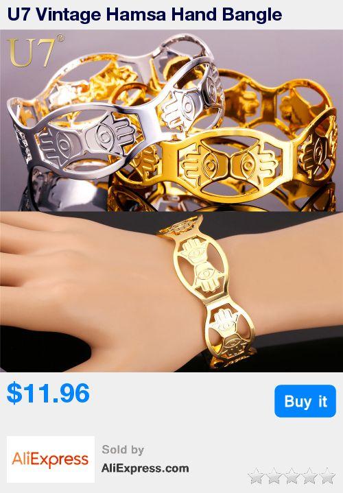 U7 Vintage Hamsa Hand Bangle Women Men Jewelry Wholesale Gold/Silver Color 3 Size Lucky Bracelets Bangles For Women H809 * Pub Date: 08:16 Jul 14 2017