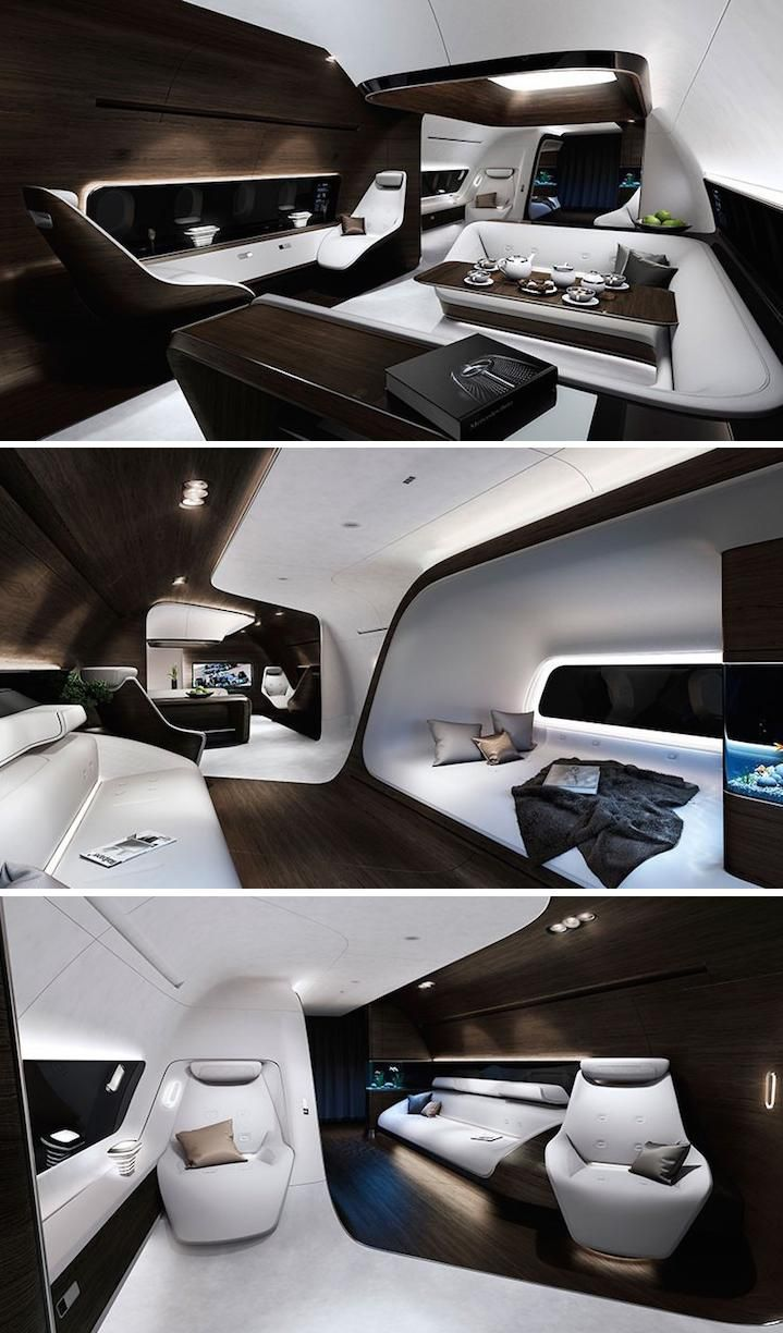 Fly in style in this ultra sleek luxury airplane from Mercedes and Lufthansa.