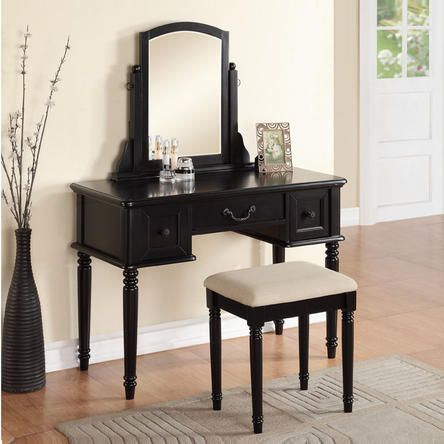black bedroom vanity poundex furniture black wood 3 drawer vanity set make up 10855