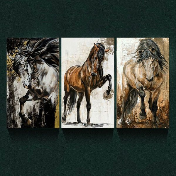 3 Pieces 60x30cm Brown Horse Paintings Wall Art Picture Modern Home Decor Living Room Or Bedroom Canvas Print Painting Diy Murals House Decoration Posters Desig Horse Painting Wall Art Pictures Diy Painting