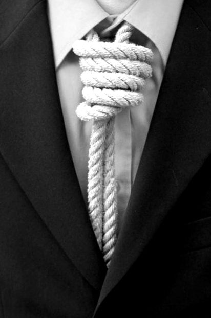 Noose tie. Add a little skull makeup etc, and this would be one sexy costume for a guy on Halloween!