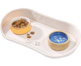 Expert Verdict No Spills Tray for Cat and Dog Bowls Pets can be messy eaters, so protect your walls and floor with this specially-designed plastic tray. It has a high splash-back to retain flying food and water, and can be simply wiped clean. http://www.MightGet.com/january-2017-11/expert-verdict-no-spills-tray-for-cat-and-dog-bowls.asp