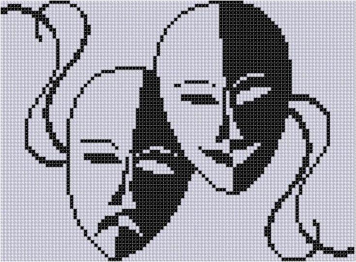 Drama Masks Cross Stitch Pattern