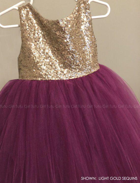 e12738c3c21 Light Gold Sequins and Burgundy Flower Girl Dress Wine Flower Girl Tutu  Dress Wine