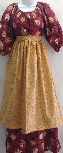 Colonial Costume Prairie Pioneer Dress Set 12 14 to Adult Small | eBay