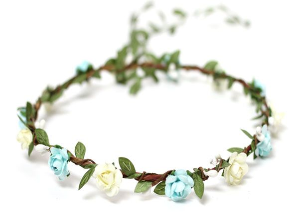 Greenery Headpiece Flowers in Aqua and Ivory Floral Crown Garland