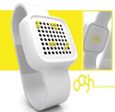 This is the concept Braille watch OOSH. It has both a Braille display as well as a voice notification system for those who can't read Braille.