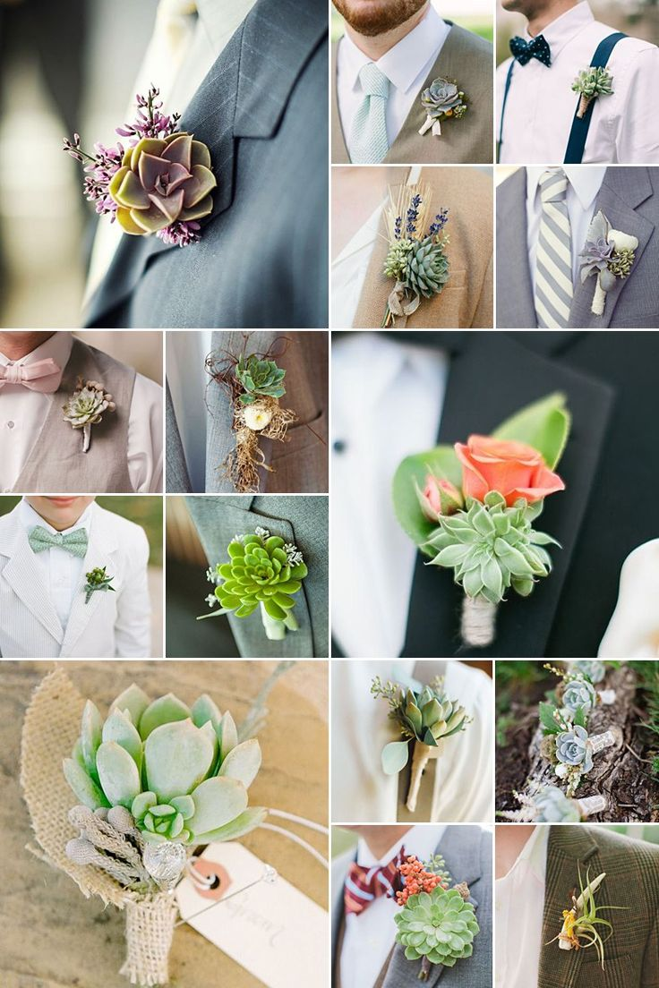 Succulent Boutonnieres: Here's a DIY on how to make these lovely rustic succulent boutonnieres!