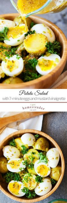 Potato Salad with 7-Minute Eggs and Mustard Vinaigrette | Here's how to make a healthy and hearty potato and egg salad that will become your new favorite side dish. Simple and healthy, enjoy it with your family at home! Make your meals everyday by checking more easy homesteading food recipe ideas @iamhomesteader #iamhomesteader #iamhomesteaderrecipes #iamhomesteaderhealthyrecipes #potatorecipes