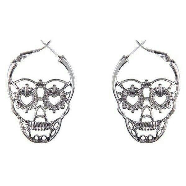 sugar skull hoop earrings