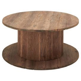 """Industrial-inspired acacia wood coffee table with a cable reel design.   Product: Coffee tableConstruction Material: Acacia woodColor: NaturalDimensions: 28"""" H x 40"""" Diameter"""