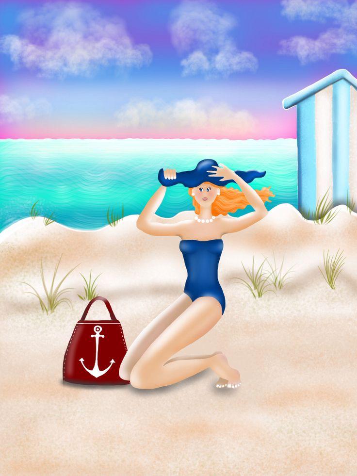 posh lady on the beach