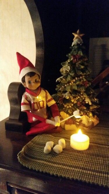 Elf on the Shelf ~ Roasting marshmallows