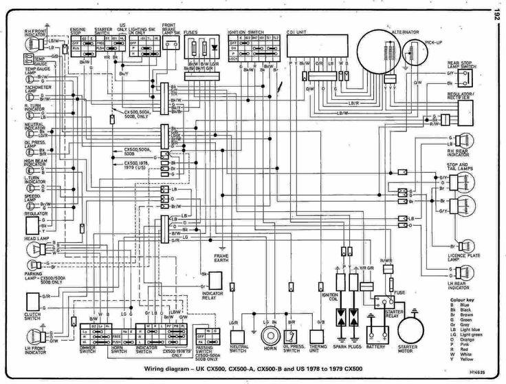 CX500 wiring diagram (general) Honda cx500, Honda, Diagram